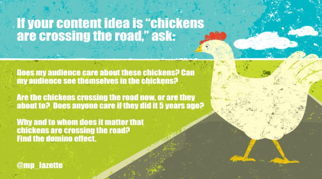 Monday Musings: So, why is your chicken crossing the road? 1